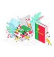 people learning portuguese language isometric 3d vector image