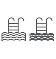 pool line and glyph icon swim and water ladder vector image vector image