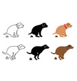 pooping dog silhouettes vector image vector image