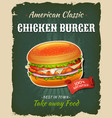 retro fast food chicken burger poster vector image