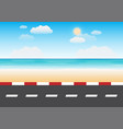 road with beach background vector image vector image