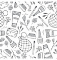 seamless beauty cosmetics doodle pattern vector image vector image
