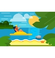 Seascape with Couple on Water Bike vector image vector image