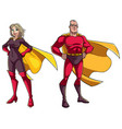 senior superhero couple on white vector image vector image