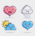set cute kawaii faces expression vector image