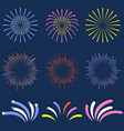 set isolated fireworks brightly colorful and vector image vector image
