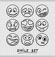 set of cartoon emoji sketch emoji vector image vector image