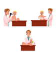 set of doctor pediatrician checking baby infant vector image vector image