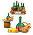 set of wine bottles cheese bread delicious food vector image