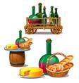 set wine bottles cheese bread delicious food vector image vector image