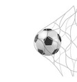 soccer football ball in goal net isolated on white vector image vector image
