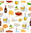 soy beans milk oil and tofu seamless pattern vector image vector image