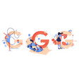 sport g letters with women training gymnastics go vector image