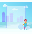 winter placard with girl on vector image vector image