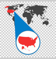 world map with zoom on usa america map in loupe vector image vector image