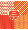 Valentine Day four pattern set Cards backgrounds vector image
