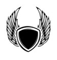 blank emblem with wings isolated on white vector image