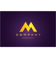 Alphabet letter M purple gold logo icon design vector image