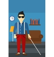 Blind man with stick vector image vector image
