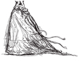 bridal dress drawing vector image vector image