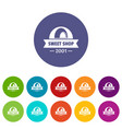 caramel sweet shop icons set color vector image vector image