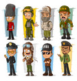 cartoon soldier and pilot character set vector image vector image