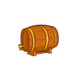 cartoon wooden beer barrel isolated vector image vector image