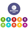 clothes button textile icons set color vector image vector image