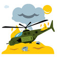 combat helicopter crash flat style vector image vector image
