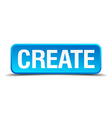 create blue 3d realistic square isolated button vector image vector image