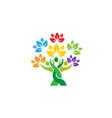 creative people tree logo vector image vector image