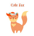 cute fox in floral wreath isolated on white vector image