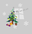 decorated christmas tree and presents under it vector image
