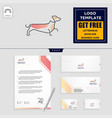 dog care logo template and stationery design vector image vector image