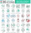 Ecology flat line outline icons for apps vector image