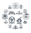 ecology logo icons set simple style vector image