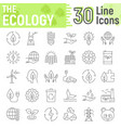 ecology thin line icon set green energy signs vector image vector image
