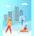father carrying child on sledge isolated vector image vector image