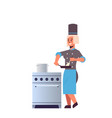 female professional chef using frying pan stirring vector image vector image
