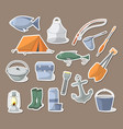 fishing icons set in flat style vector image vector image