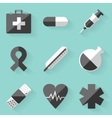 Flat icon set Medical White style vector image vector image