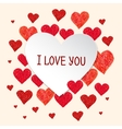 Frame made of red hand drawn hearts vector image