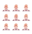 Grey haired old man face expression avatars vector image vector image