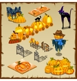 Halloween characters pumpkins and decorations vector image vector image