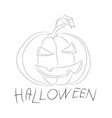 halloween pumpkin with lines vector image