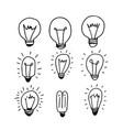 hand drawn light bulb icon vector image