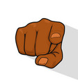hand of man pointing index finger at you vector image vector image