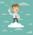 happiness businessman standing on cloud vector image vector image
