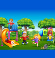 happy kids playing o the playgroundn vector image vector image