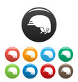 hiking helmet icons set color vector image vector image